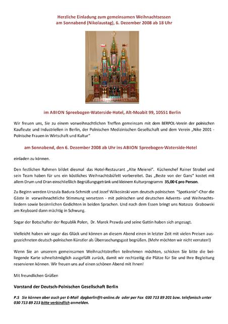 weihnachtsfeier towarzystwo niemiecko polskie. Black Bedroom Furniture Sets. Home Design Ideas